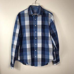 J Crew Indigo Button Front Shirt Size LT
